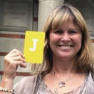 Journalist Ruth Gledhill holding the letter J
