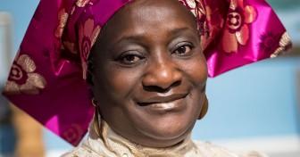 Esther Ibanga wearing a purple headscarf