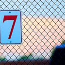The number 7 attached to a wire fence