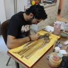 An icon painter at work