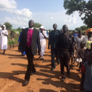 Bishop Daniel Deng Abot visits a refugee settlement in northern Uganda
