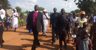 Bishop Daniel Deng Abot visits a refugee settlement in northern Uganda