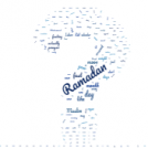 A question mark formed of words connected to Ramadan